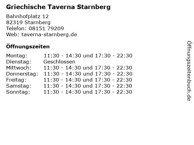 Griechische Taverna Starnberg in Starnberg: Adresse und Öffnungszeiten
