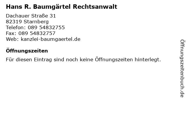 Hans R. Baumgärtel Rechtsanwalt in Starnberg: Adresse und Öffnungszeiten