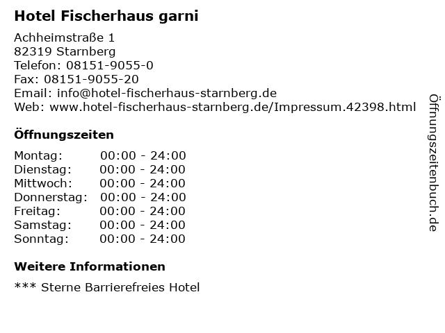 Hotel Fischerhaus garni in Starnberg: Adresse und Öffnungszeiten