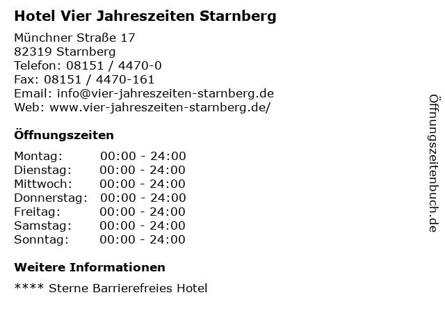 Hotel Vier Jahreszeiten Starnberg in Starnberg: Adresse und Öffnungszeiten