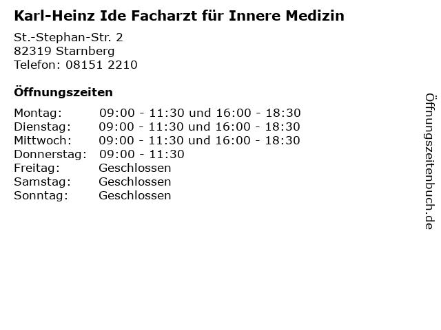 Karl-Heinz Ide Facharzt für Innere Medizin in Starnberg: Adresse und Öffnungszeiten