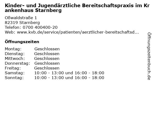 Kinder- und Jugendärztliche Bereitschaftspraxis im Krankenhaus Starnberg in Starnberg: Adresse und Öffnungszeiten