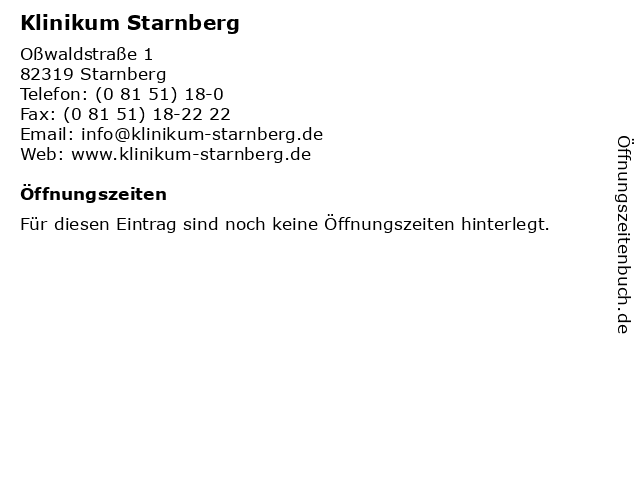 Klinikum Starnberg in Starnberg: Adresse und Öffnungszeiten
