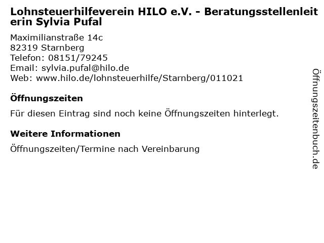 Lohnsteuerhilfeverein HILO e.V. - Beratungsstellenleiterin Sylvia Pufal in Starnberg: Adresse und Öffnungszeiten