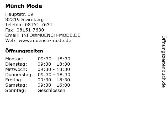 Münch Mode in Starnberg: Adresse und Öffnungszeiten