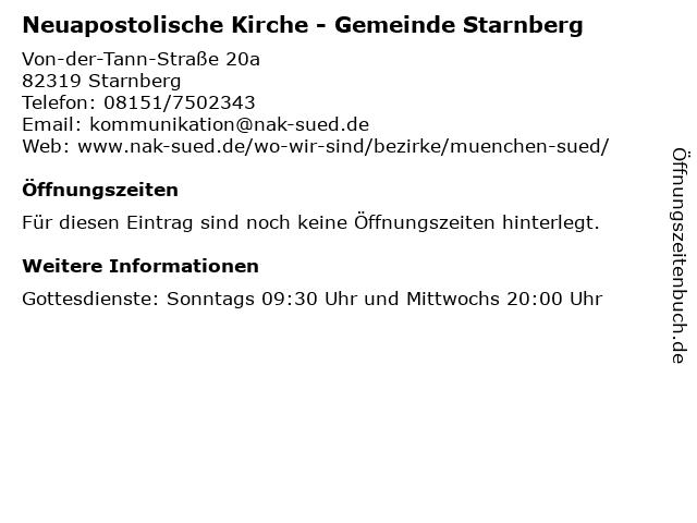 Neuapostolische Kirche - Gemeinde Starnberg in Starnberg: Adresse und Öffnungszeiten