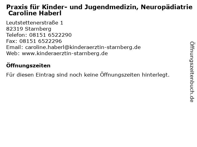 Praxis für Kinder- und Jugendmedizin, Neuropädiatrie Caroline Haberl in Starnberg: Adresse und Öffnungszeiten
