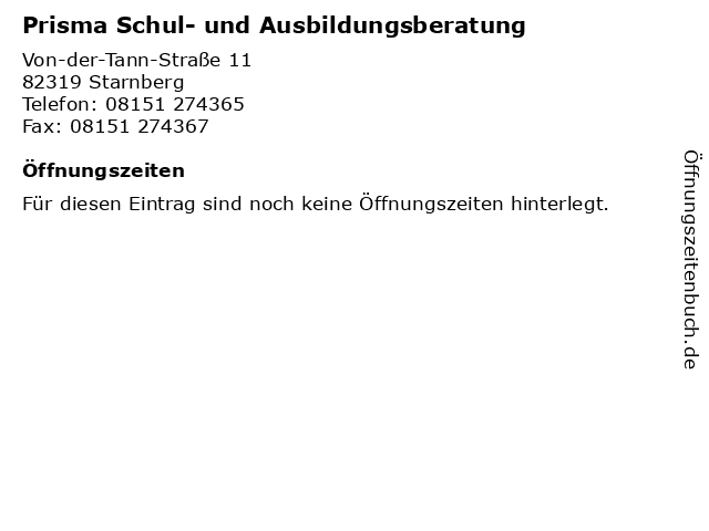 Prisma Schul- und Ausbildungsberatung in Starnberg: Adresse und Öffnungszeiten
