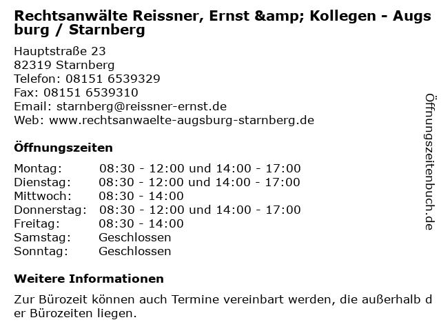 Rechtsanwälte Reissner, Ernst & Kollegen - Augsburg / Starnberg in Starnberg: Adresse und Öffnungszeiten