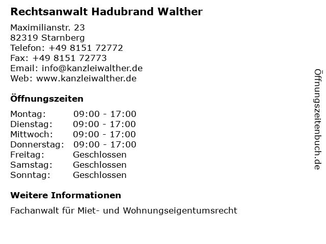 Rechtsanwalt Hadubrand Walther in Starnberg: Adresse und Öffnungszeiten