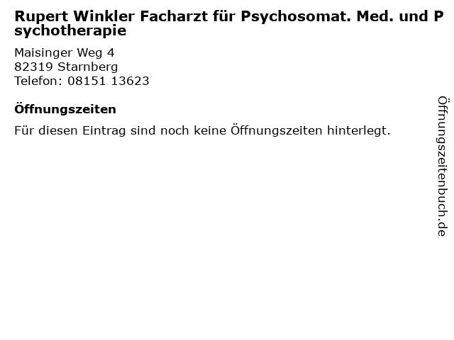 Rupert Winkler Facharzt für Psychosomat. Med. und Psychotherapie in Starnberg: Adresse und Öffnungszeiten