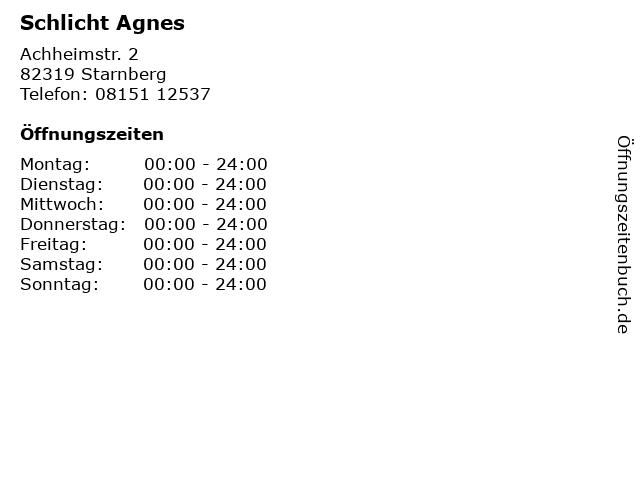 Schlicht Agnes in Starnberg: Adresse und Öffnungszeiten