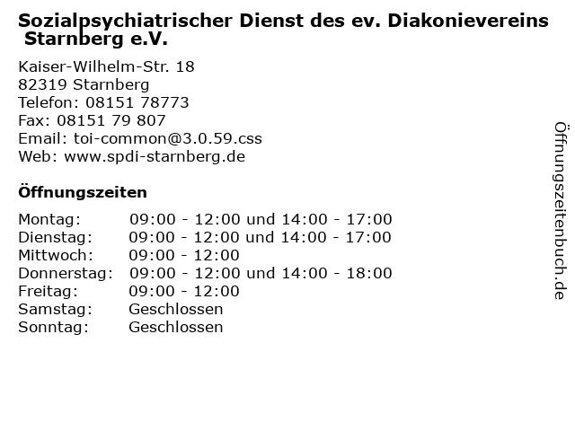 Sozialpsychiatrischer Dienst des ev. Diakonievereins Starnberg e.V. in Starnberg: Adresse und Öffnungszeiten