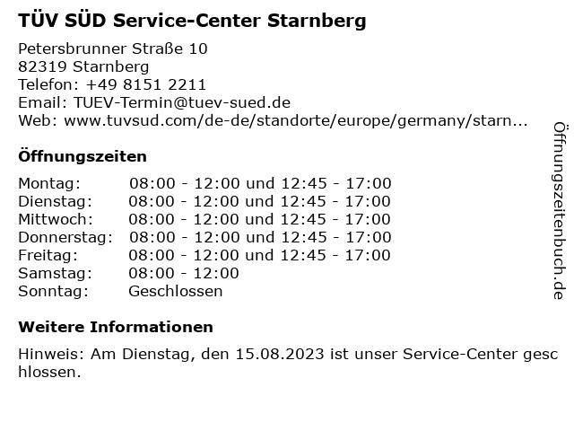 TÜV SÜD Service-Center Starnberg in Starnberg: Adresse und Öffnungszeiten