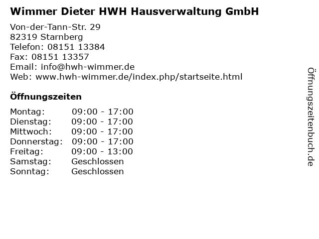 Wimmer Dieter HWH Hausverwaltung GmbH in Starnberg: Adresse und Öffnungszeiten