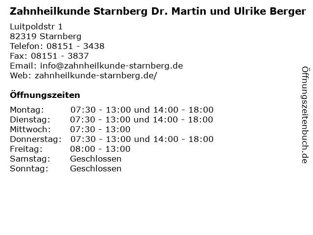 Zahnheilkunde Starnberg Dr. Martin und Ulrike Berger in Starnberg: Adresse und Öffnungszeiten
