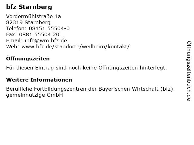 bfz Starnberg in Starnberg: Adresse und Öffnungszeiten