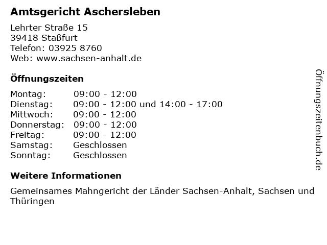 ᐅ öffnungszeiten Amtsgericht Aschersleben Lehrter Straße 15 In