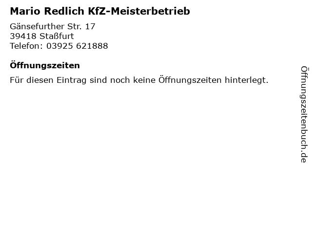 Mario Redlich KfZ-Meisterbetrieb in Staßfurt: Adresse und Öffnungszeiten