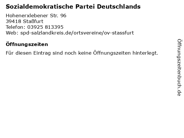 Sozialdemokratische Partei Deutschlands in Staßfurt: Adresse und Öffnungszeiten