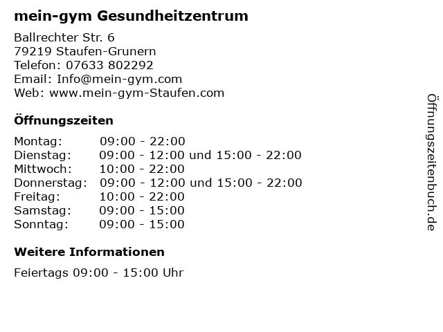 mein-gym Gesundheitzentrum in Staufen-Grunern: Adresse und Öffnungszeiten