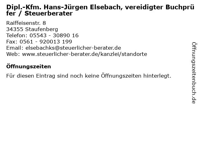 Dipl.-Kfm. Hans-Jürgen Elsebach, vereidigter Buchprüfer / Steuerberater in Staufenberg: Adresse und Öffnungszeiten