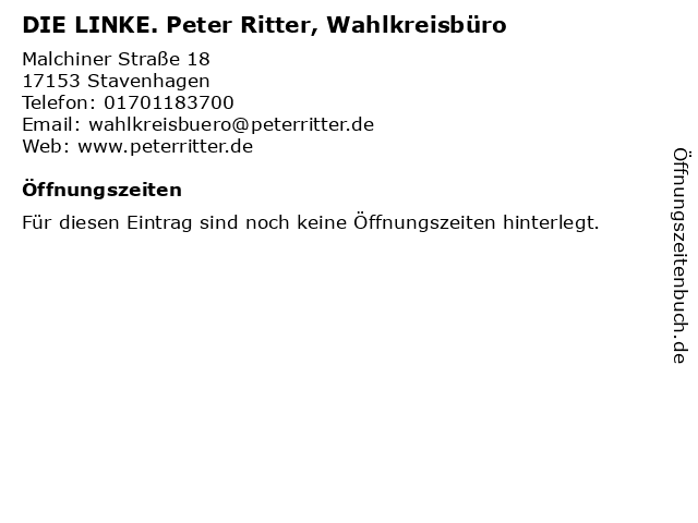 DIE LINKE. Peter Ritter, Wahlkreisbüro in Stavenhagen: Adresse und Öffnungszeiten