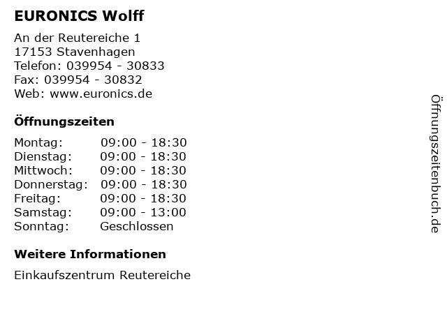 EURONICS Wolff in Stavenhagen: Adresse und Öffnungszeiten