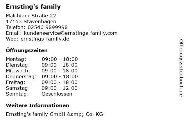 Ernsting's family in Stavenhagen: Adresse und Öffnungszeiten
