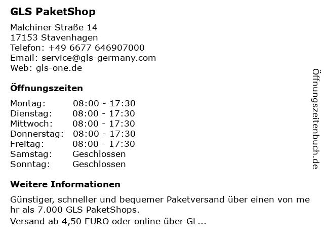 GLS PaketShop in Stavenhagen: Adresse und Öffnungszeiten