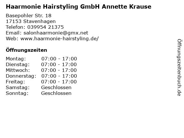 Haarmonie Hairstyling GmbH Annette Krause in Stavenhagen: Adresse und Öffnungszeiten