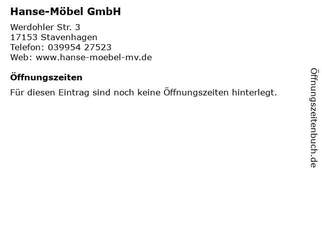 Hanse-Möbel GmbH in Stavenhagen: Adresse und Öffnungszeiten