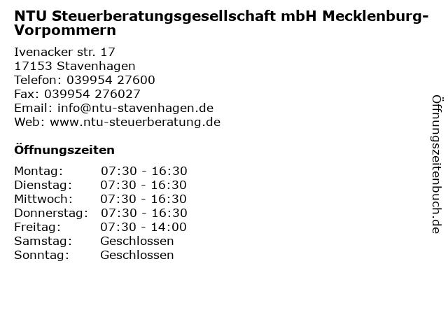 NTU Steuerberatungsgesellschaft mbH Mecklenburg-Vorpommern in Stavenhagen: Adresse und Öffnungszeiten
