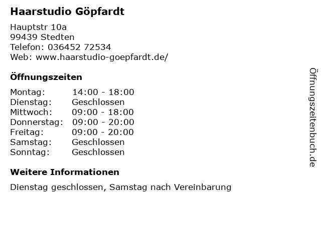 Haarstudio Göpfardt in Stedten: Adresse und Öffnungszeiten