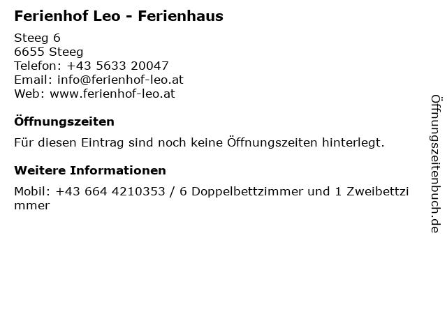 Ferienhof Leo - Ferienhaus in Steeg: Adresse und Öffnungszeiten