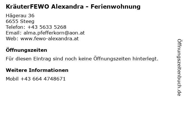 KräuterFEWO Alexandra - Ferienwohnung in Steeg: Adresse und Öffnungszeiten