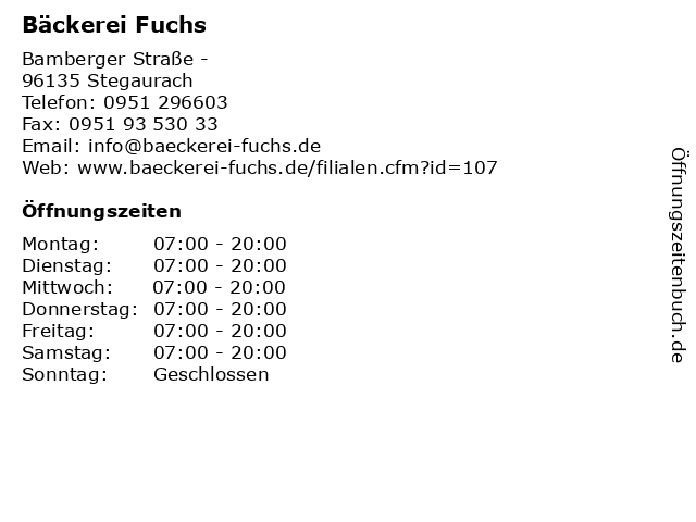 Bäckerei Fuchs in Stegaurach: Adresse und Öffnungszeiten