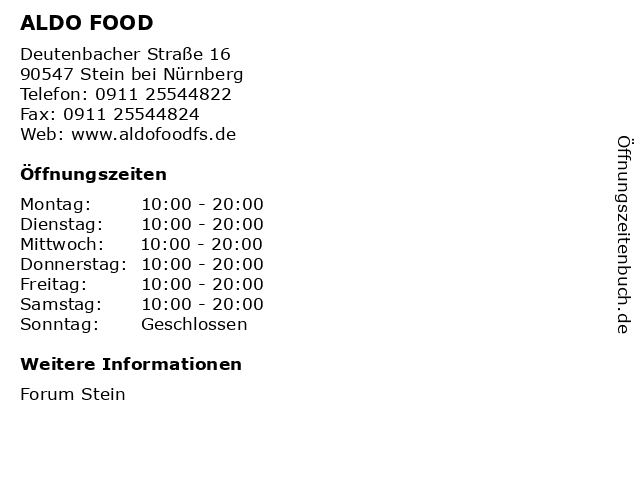ALDO FOOD in Stein bei Nürnberg: Adresse und Öffnungszeiten