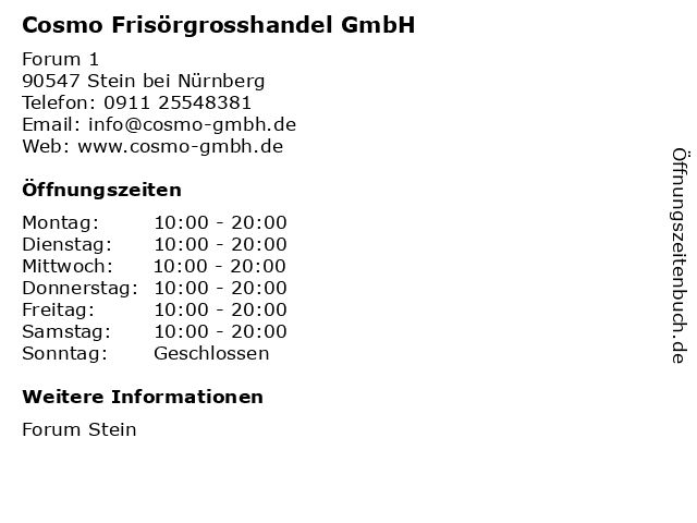 Cosmo Frisörgrosshandel GmbH in Stein bei Nürnberg: Adresse und Öffnungszeiten