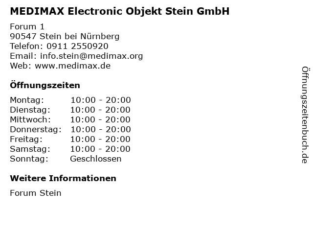 MEDIMAX Electronic Objekt Stein GmbH in Stein bei Nürnberg: Adresse und Öffnungszeiten