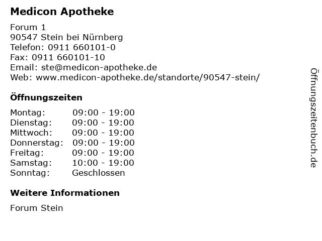 Medicon Apotheke in Stein bei Nürnberg: Adresse und Öffnungszeiten