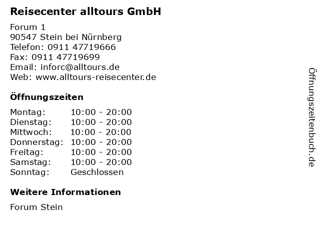 Reisecenter alltours GmbH in Stein bei Nürnberg: Adresse und Öffnungszeiten