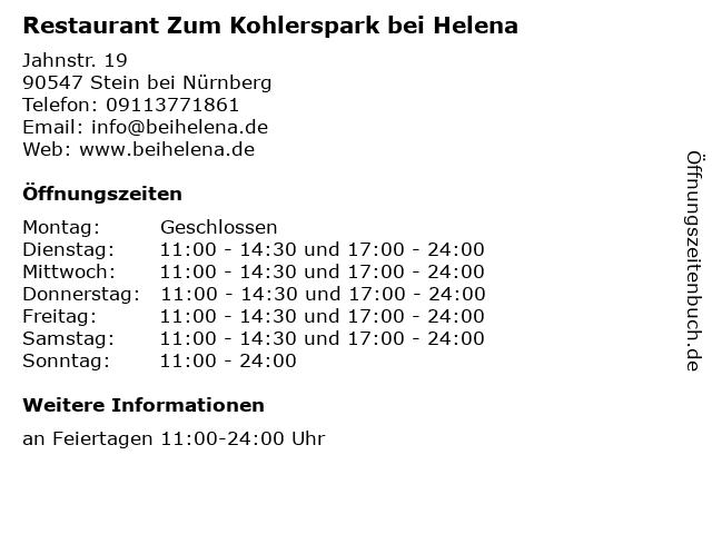 Restaurant Zum Kohlerspark bei Helena in Stein bei Nürnberg: Adresse und Öffnungszeiten