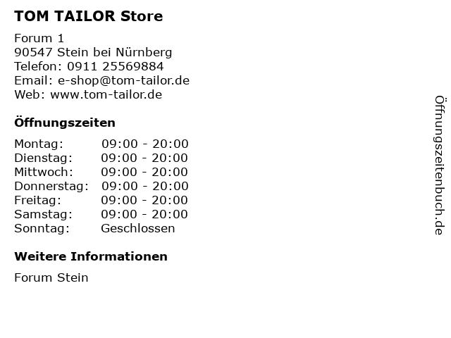 TOM TAILOR Store in Stein bei Nürnberg: Adresse und Öffnungszeiten