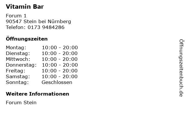 Vitamin Bar in Stein bei Nürnberg: Adresse und Öffnungszeiten