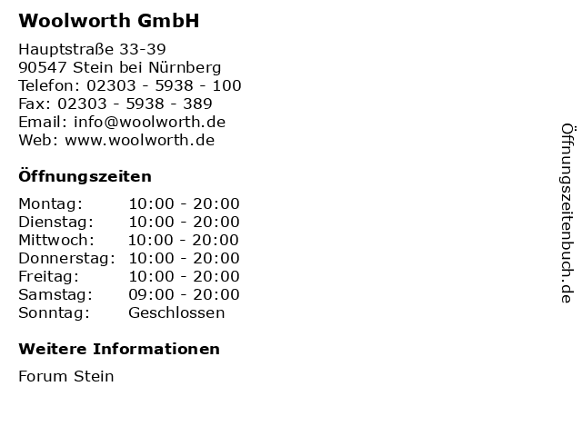 Woolworth GmbH in Stein bei Nürnberg: Adresse und Öffnungszeiten