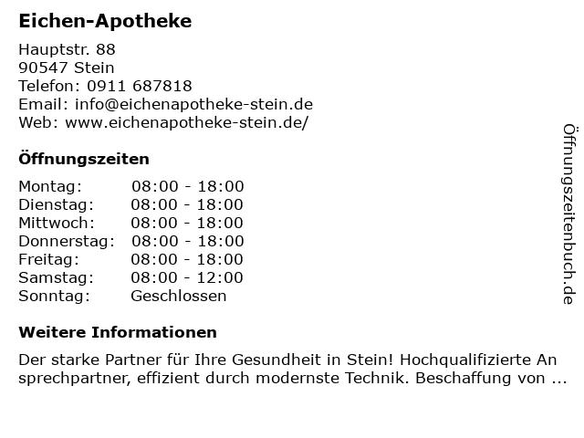 Eichen-Apotheke in Stein: Adresse und Öffnungszeiten