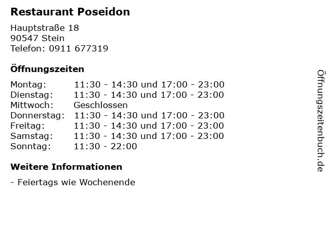 Restaurant Poseidon in Stein: Adresse und Öffnungszeiten