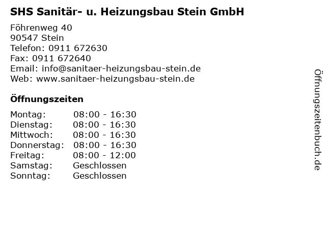 SHS Sanitär- u. Heizungsbau Stein GmbH in Stein: Adresse und Öffnungszeiten