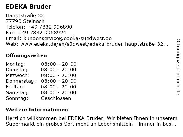 EDEKA Bruder in Steinach: Adresse und Öffnungszeiten